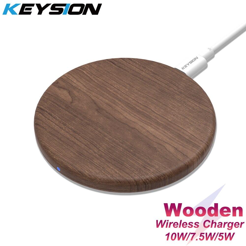 KEYSION 10W Qi מהיר אלחוטי מטען עבור iPhone 11 פרו XS Max XR 8 בתוספת עץ אלחוטי טעינת Pad עבור Samsung S10 S9 S8 S7