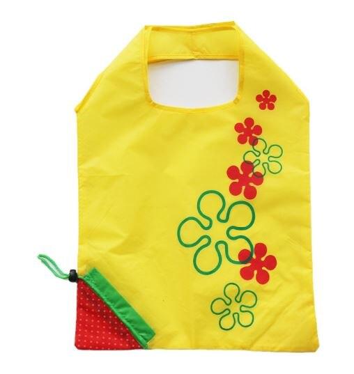 Grande saco de compras morango dobrável saco