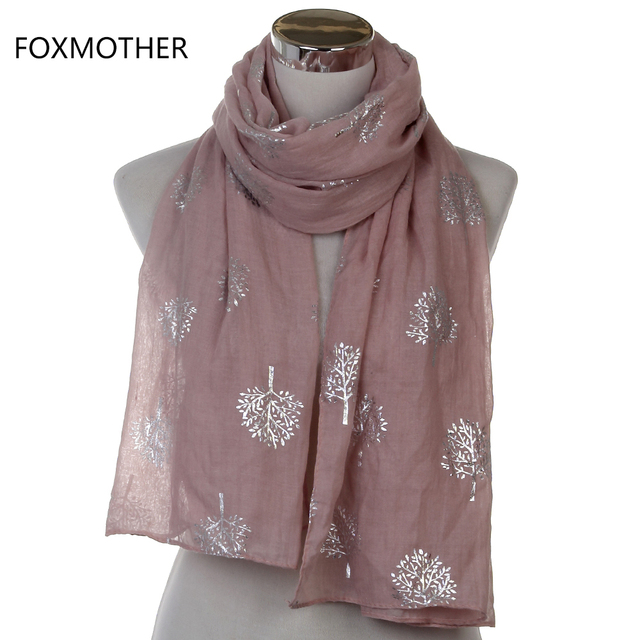 Dropshipping 2019 New Spring Summer Fashion Ladies White Navy Bronzing Silver Metallic Tree Glitter Scarf Scarves Gifts 4