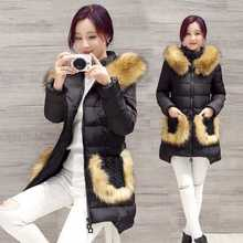 2016 New Winter Jackets Women Large Fur Hooded Parkas White Duck Down Snow Outwear Overcoats Warm Coats Parkas Plus Size A3923