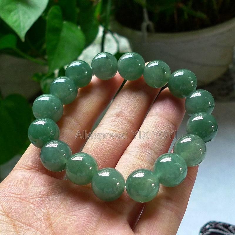 Beautiful 10mm 12mm Natural Grade A Jadeite Green Round Beads Lucky Bracelet Elastic Strand Bracelets Certificate