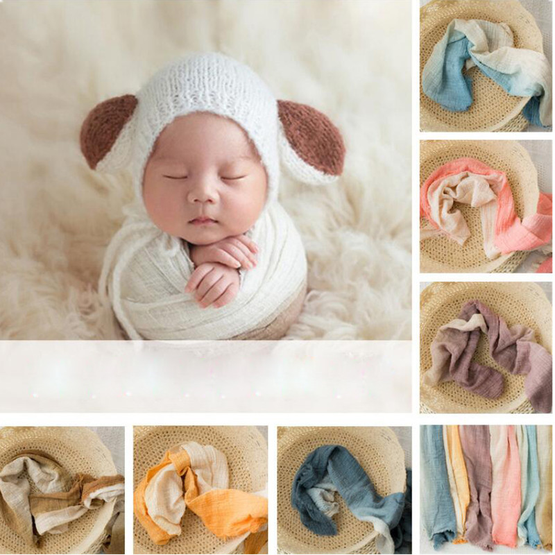 Ylsteed Newborn Photography Wrap Baby Photo Props Double Colors Newborn Swaddle Blanket Cotton Basket Stuffer Infant Shooting