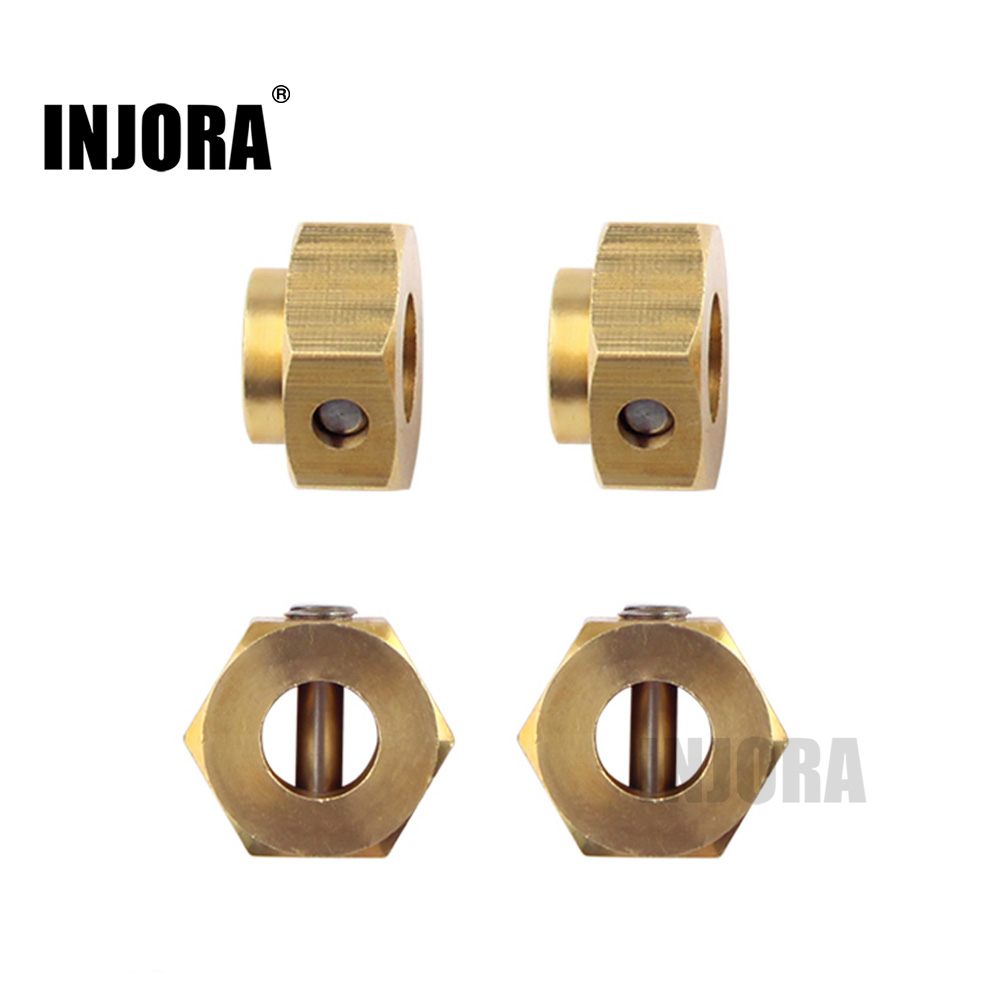 INJORA 5/8.5/10MM Heavier Brass 12MM Wheel Hex Extended Adapter For RC Crawler Traxxas TRX4 TRX-4