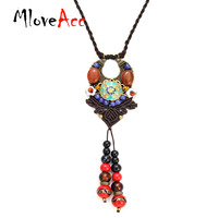 MloveAcc Ethnic Handmade Chinese Traditional Braided Necklace Vintage Shell Flower Stone Beads Statement Necklaces For Women