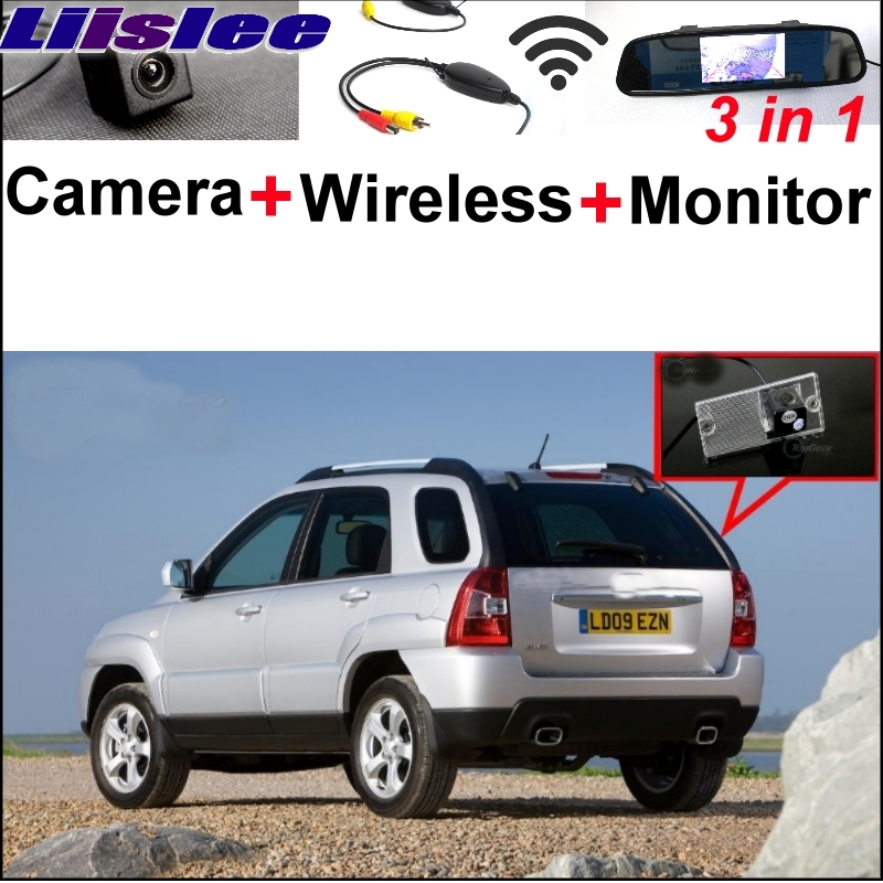 Liislee 3 in1 Special Camera + Wireless Receiver + Mirror Monitor Easy DIY Back Up Parking System For KIA Sportage KM 2004~2010 wireless pager system 433 92mhz wireless restaurant table buzzer with monitor and watch receiver 3 display 42 call button