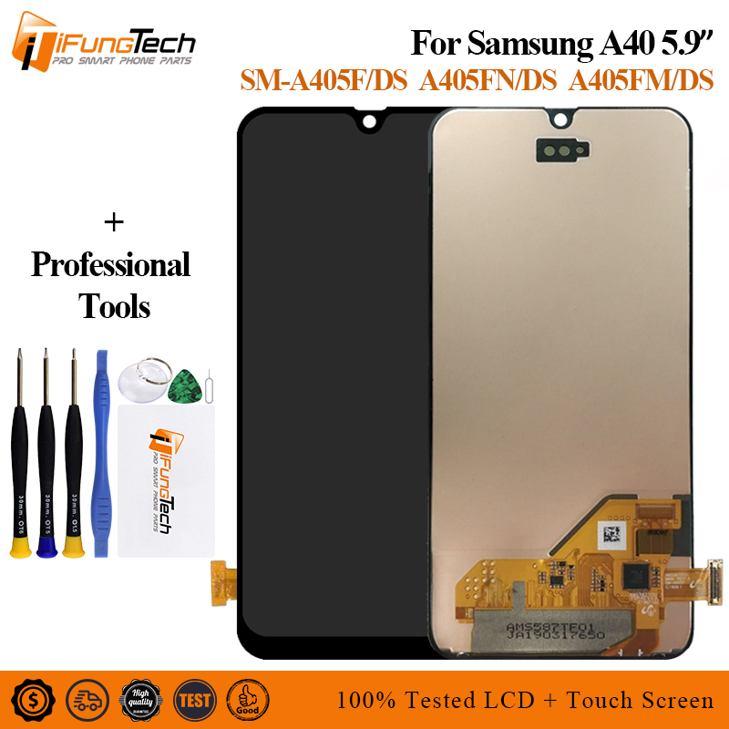For <font><b>Samsung</b></font> <font><b>A40</b></font> <font><b>LCD</b></font> A405 <font><b>LCD</b></font> <font><b>A40</b></font> <font><b>lcd</b></font> Display For <font><b>Samsung</b></font> <font><b>A40</b></font> A405 <font><b>LCD</b></font> touch Screen Digitizer Assembly Replacement image
