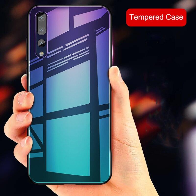 Para Huawei P20 P20 Pro caso lujo gradiente Aurora cajas de vidrio templado suave Protector para Huawei P 20 20pro parachoques Capa