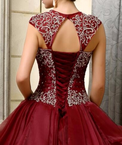 2016-Big-Ball-Gown-Gowns-Burgundy-Long-Floor-Length-Sleeveless-Beaded-Organza-Corset-Sweet-16-Quinceanera (4)
