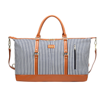 Women Large Capacity Multipurpose Zipper Travel Bag Stripe Fashion Duffel Tote Canvas Handbag Suitcase Soft Adjustable Strap