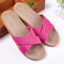 IVI Anti-slip Linen Slipper Summer Striped Flaxen Women Men Hotel Indoor Home Shoes Straw Ladies Flat Flax Slippers