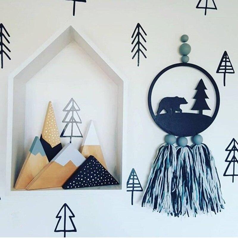 INS Kids Room Decoration Nordic Wooden Bead with Tassel Dream Catcher Wall Hanging Kids Baby Room Decor Accessories Dreamcatcher