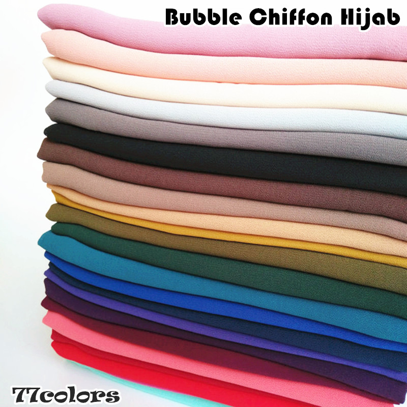 92 Color High Quality Plain Bubble Chiffon Scarf Solid Color Shawls Headband Popular Hijab Muslim Scarves Foulard 10pcs/lot