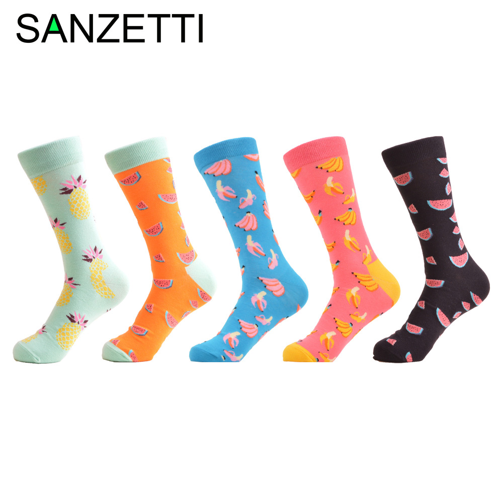 SANZETTI 5 Pair/Lot Newest Mens Combed Cotton Causal Dress Wedding Socks Bright Colorful Fruit Pattern Funny Skateboard Socks
