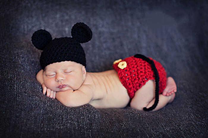 Mickey Ontwerp Baby Haak Hoed & Diaper Set Pasgeboren Gebreide Kostuum Baby Boy Haak Fotografie Props Baby Outfits MZS-14015