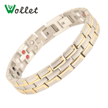 Wollet Jewelry 5 in 1 316L Stainless Steel Magnetic Bracelet Bangle For Women Men Health Care Healing Energy Gold Color Magnet цена