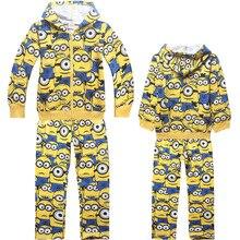 Retail autumn baby boys girls clothes minions clothes long sleeve boys clothing girls clothing set vetement