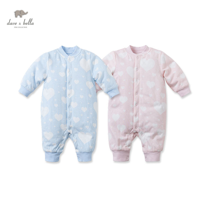 DB2749 dave bella autumn winter baby padded rompers kid rompers infant romper knit baby romper baby coverall babysuits