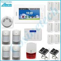 Allarme di sicurezza domestica 7 pollice touch screen GSM sistema di allarme, intelligente IOS Android APP, pannello di allarme con una lunga durata Li-Ion