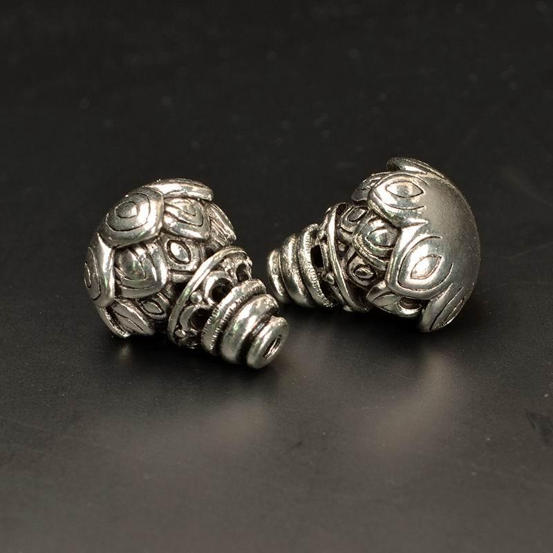 1 Set Genuine Vintage Tibetan Silver Spacer Guru Jewelry Making DIY Craft Beads