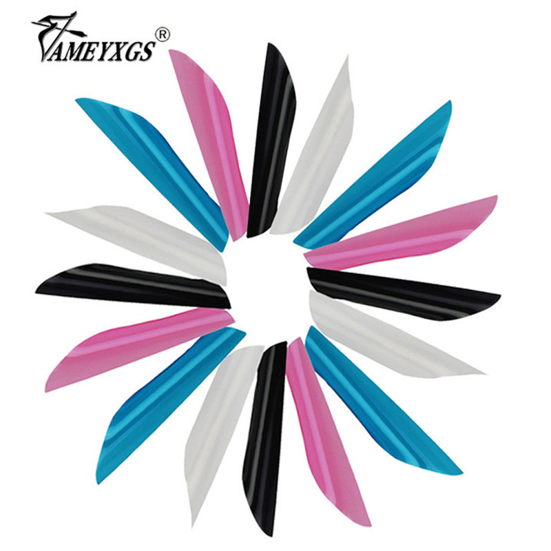 50pcs Archery Spiral Feathers 1 75inch Plastic Arrow Feathers Shooting Rotating Vanes Fit Carbon Arrow Aluminum Arrow Hunting in Bow Arrow from Sports Entertainment