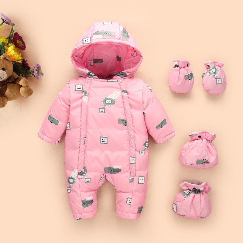 2018 new born Baby Child Winter Thickening Warm Clothes Girl Down Cotton padded Trousers rompers Walking Dress Body suit