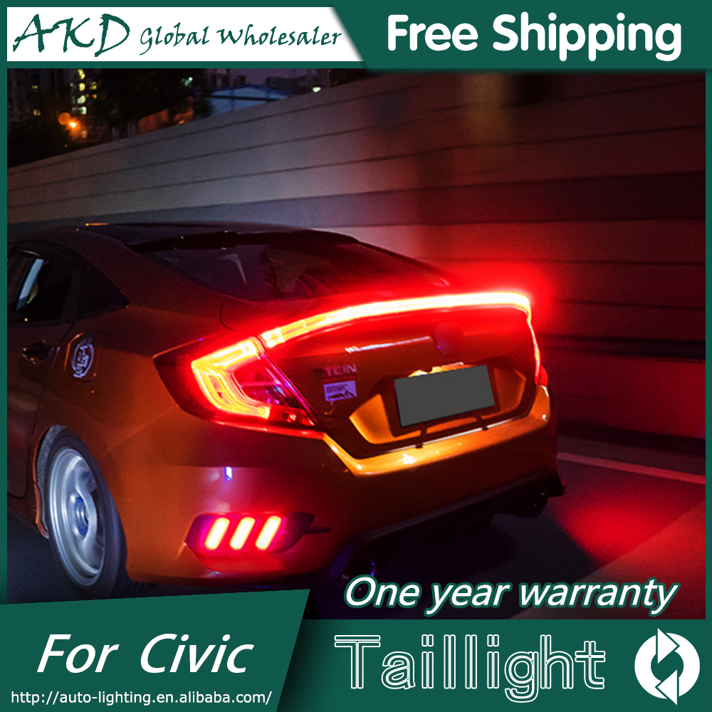 AKD Car Styling Tail Lamp for Honda Civic Tail Lights 2016 Civic X LED Tail Light LED Signal LED DRL Stop Rear Lamp Accessories car styling car rear bumper trims for honda civic 2016 2017 2018