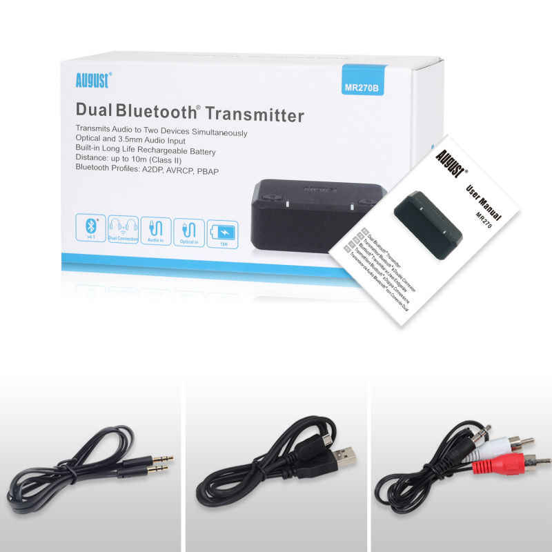 August Optical Bluetooth Transmitter for tv aptX Low Latency Dual Link  Wireless Audio Adapter for Headphones / Speakers