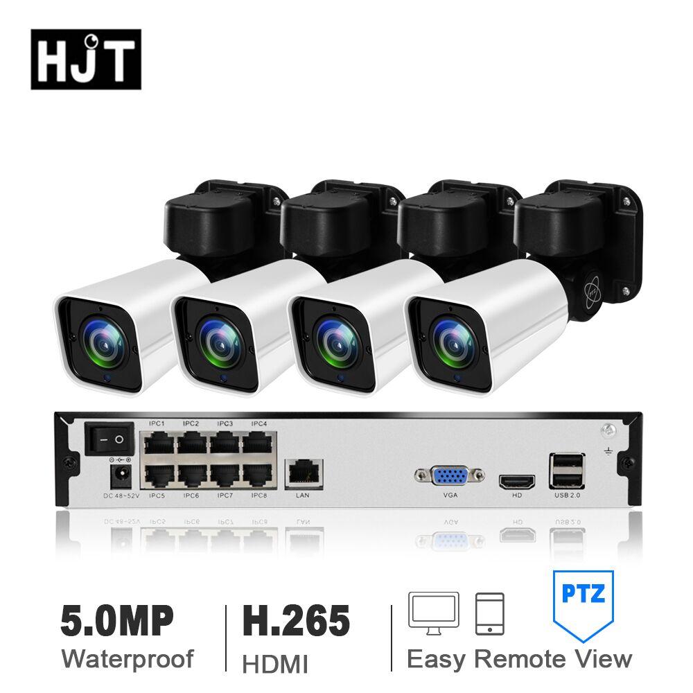 HJT H.265 5.0MP PTZ IP Cmaera 4CH 8CH 8CH 4X Zoom POE NVR CCTV Camera Night Visoin Detecção de Movimento Ao Ar Livre à prova d' água