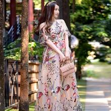 2018 Tulle Floral Embroidery Dress Runway Designer Vintage Elegant Tunic Short Sleeve Maxi Dress Women Mesh Long Summer Dresses