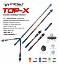 Topoint Archery Bow Stabilizer Combo Main-Bar+Side-Bar+Extend-Bar+V-Bar For Compound Recurve Shooting Balance
