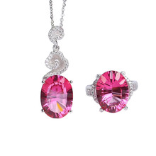 цена wholesale trendy 925 sterling silver natural pink topaz necklace pendant ring jewelry set for female wedding engagement gift онлайн в 2017 году