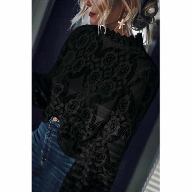 2019 nouveau automne dame noir Blusas femmes à manches longues en mousseline de soie dentelle Crochet hauts Blouses femmes vêtements Blouse féminine vêtements