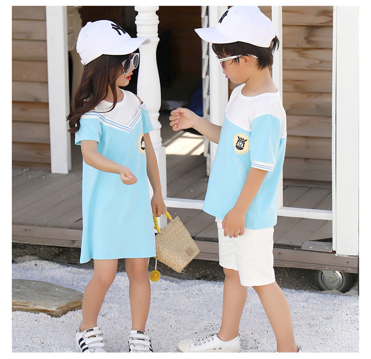 HTB1CVfscoKF3KVjSZFEq6xExFXa1 - Summer Clothes Family Matching Outfits Dad Son Short Sleeve T-Shirt Mother Daughter Dresses Cute Blue White Dress Clothing