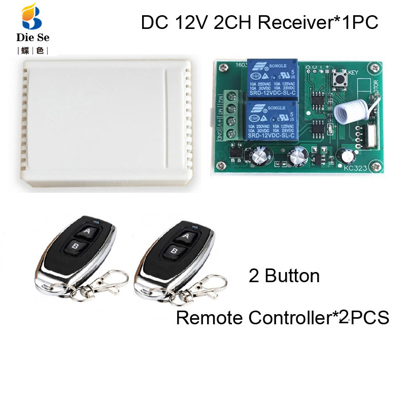433MHz Remote Control Switch DC 12V 2CH Relay Receiver Module RF For Electric Motor Positive And Negative Current Control