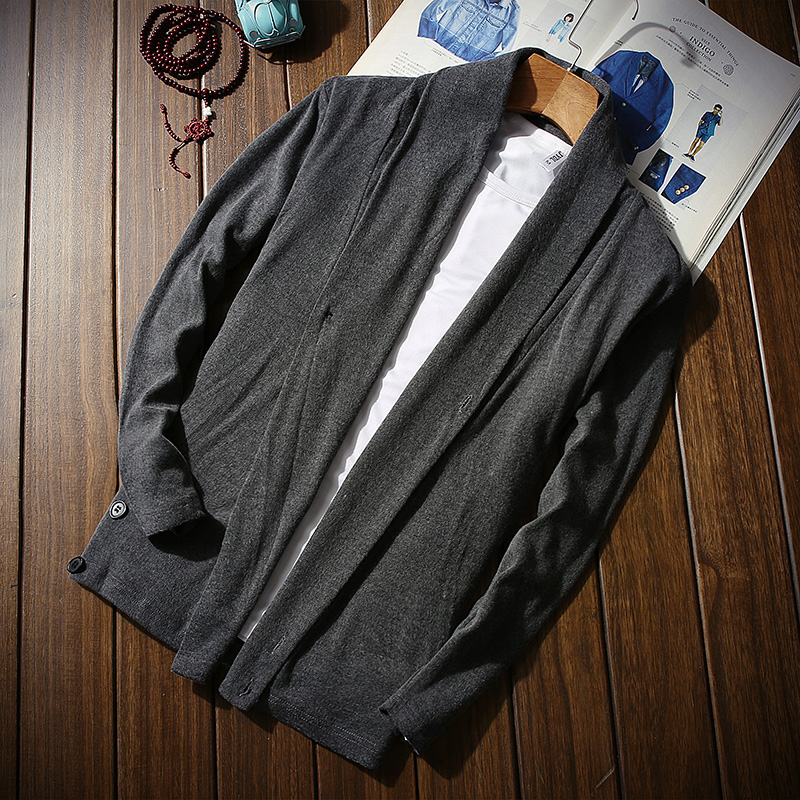 Coat Trench Open-Style Autumn Men's Cotton Casual Man 5XL Loose MQ358 Knitted Single-Button