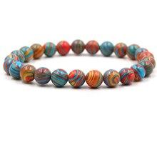 HOBBORN Trendy Natural Stone Chakra Women Bracelet 8mm Colorful Malachite Beads Handmade Elasticity Wrist Couple Bracelets Gift