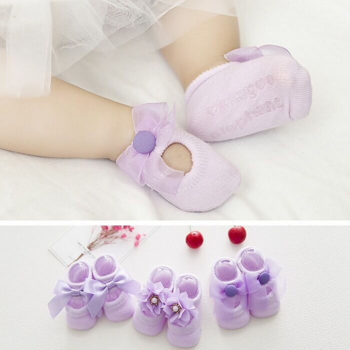 2018 Cute Lace Bow Thin Cotton Socks Hollow Hole Infant Baby Socks Floor Baby Footwears 3pcs/lot