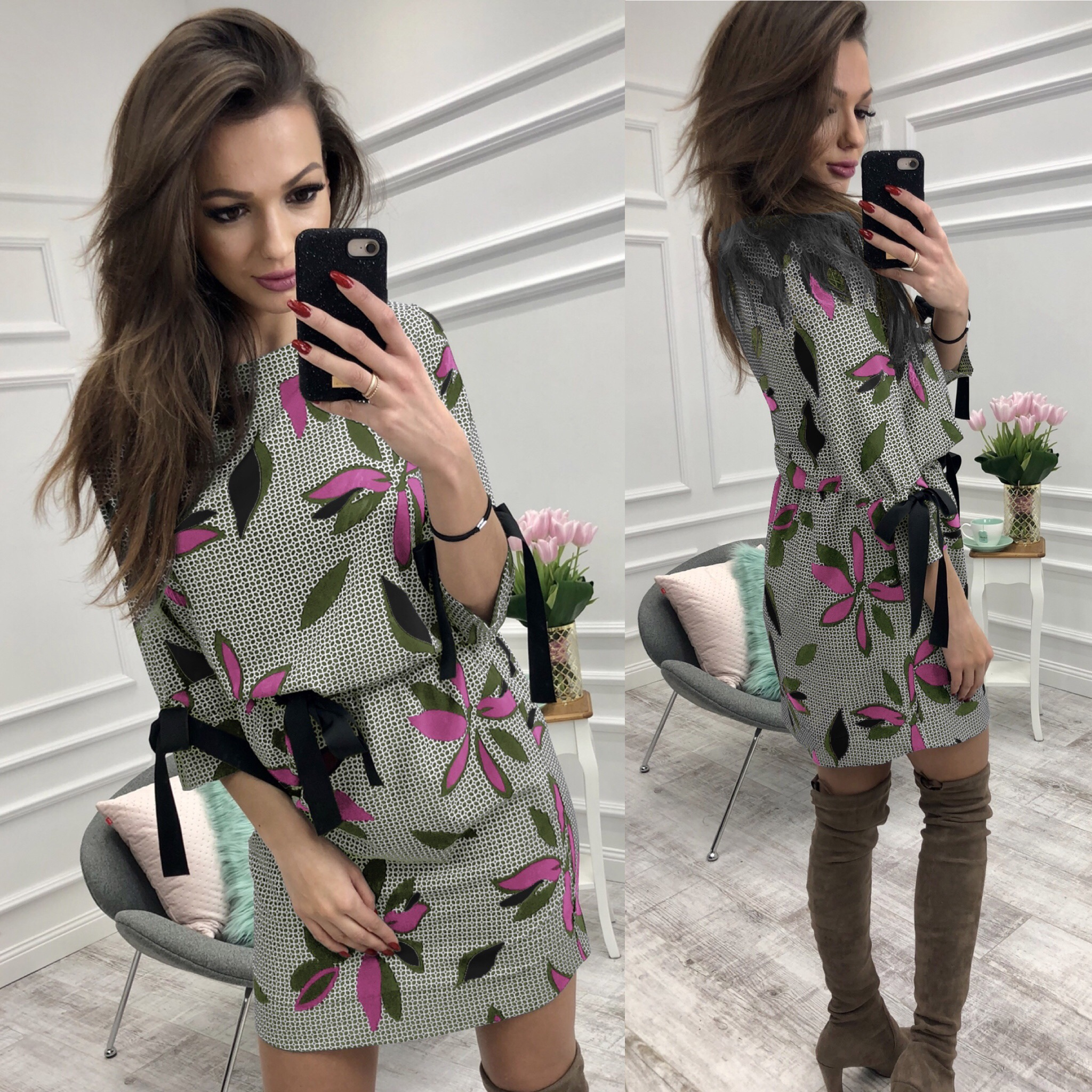 AVODOVAMA M Spring Summer Women Dress Fashion Casual Sexy O Neck Long Sleeve Sashes Print Mini Dresses