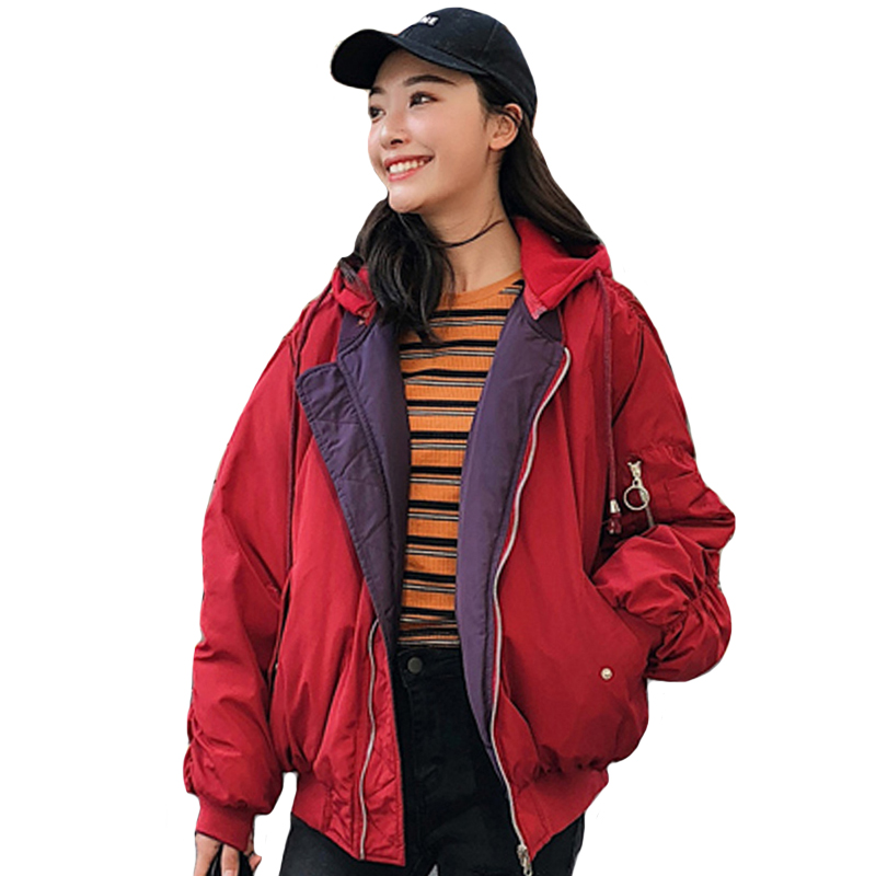Korean Style 2019 Fashion Winter Jacket Women Hooded Double Two Sides Cotton Padded Female Outwear   Parka   Ovesized Coat