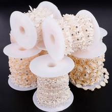 ABS имитация с жемчугом, кристаллами, бисером, цепочкой, пришитые стразы, цепочка для украшения свадебной вечеринки, DIY ювелирные изделия, аксессуары для шитья и рукоделия