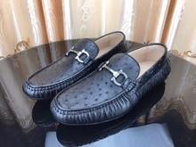 2018 новое производство из натуральной кожи страуса мужская обувь, высокое качество кожи страуса для отдыха модная мужская обувь черный цвет