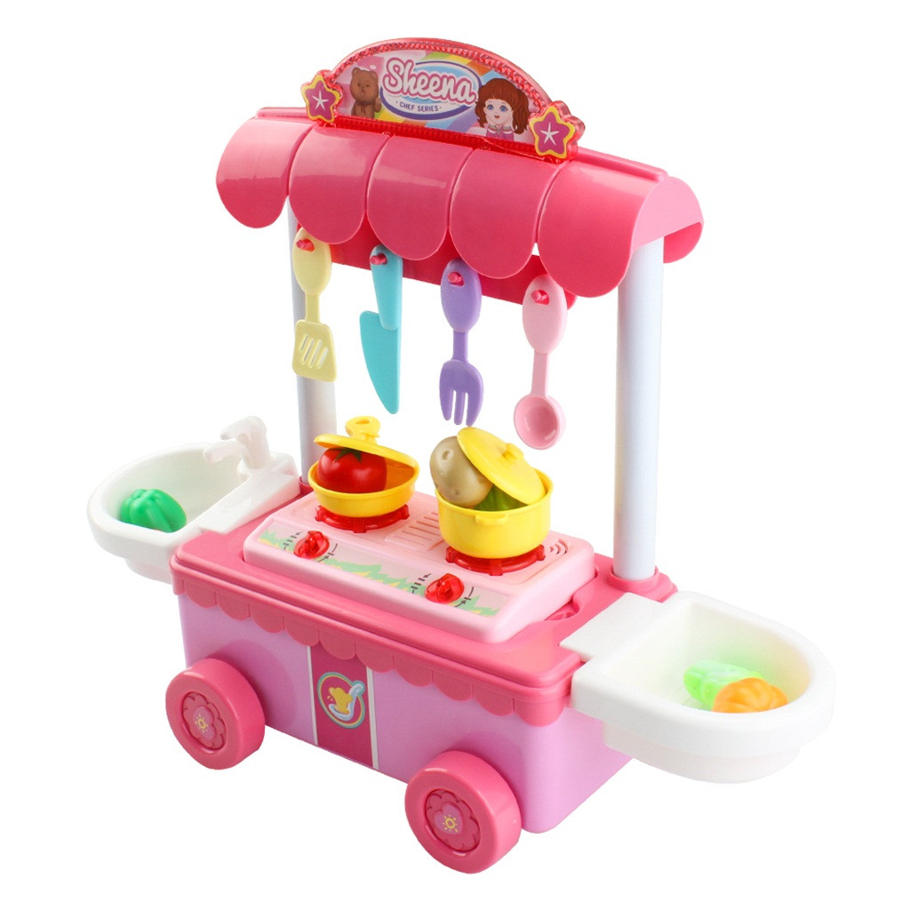 Simulation Voice Doll Dining Car Stove Music Lighting Effect Girl Kitchen Play Hous Toys Cooking Kitchen  Kids Mini Playset Toys