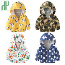 Children Kids jackets for boys spring autumn toddler girls coats and jackets baby outerwear Hooded windbreaker dinosaur jacket cheap Casual Polyester COTTON A4000288 Fits true to size take your normal size Thin (Summer) Full Outerwear Coats Print Unisex