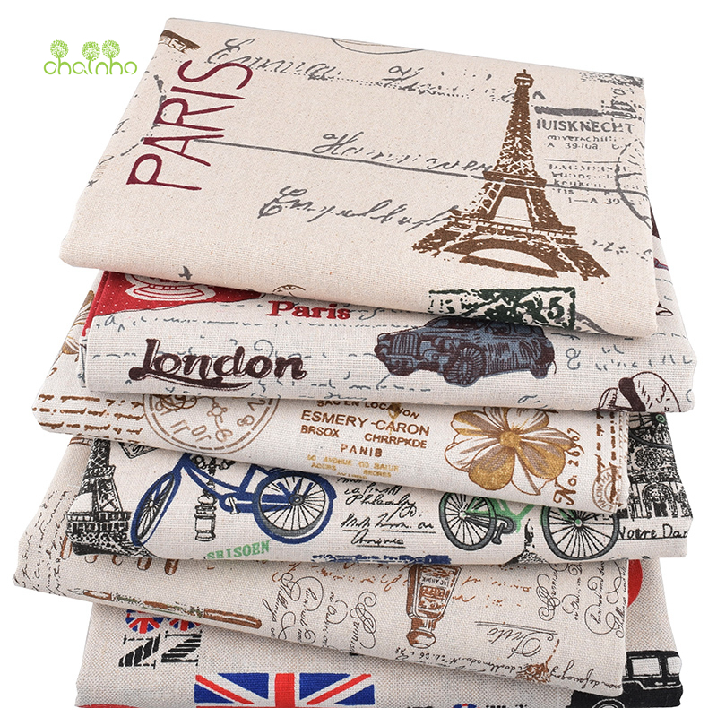 Chainho, 6pcs/lot,Eiffel Tower Patchwork Printed Cotton Linen Fabric For DIY Quilting & Sewing Placemat,Bags Material, 25x45cm