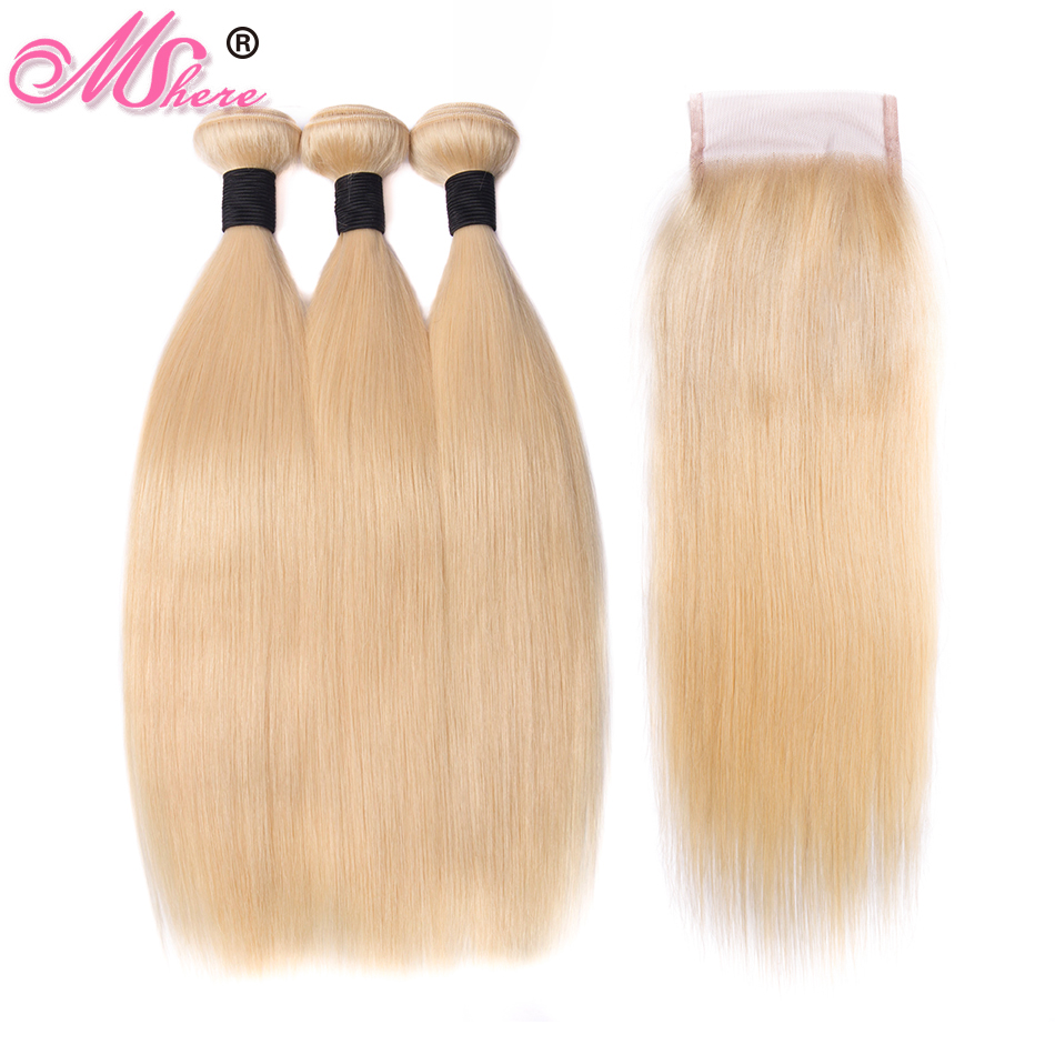 613 Blonde Bundles With Closure Brazilian Straight Hair 3 Bundles With Lace Closure Mshere Remy Human