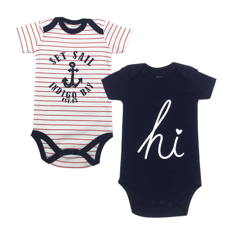 2 Piece lot Newborn Baby Bodysuit Print Body Suit Summer Baby Children Girl Boy short Sleeve Toddler Jumpers Infant Bodysuit in Bodysuits from Mother Kids