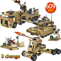 609PCS Military Tank Blocks Compatible Legoingly City Army Swat Police Weapons Building Bricks Fighter Shell Truck Toys For Boys