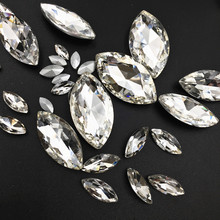 Free Shipping Pointback Horse Eye Shape Clear Glass Crystal White Rhinestones For DIY Nail Art/Phone DIY/Clothing Accessories