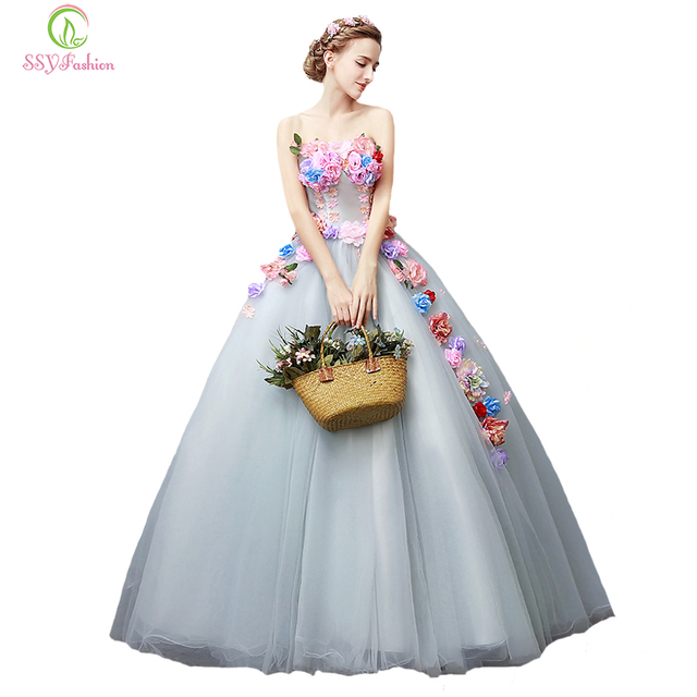 b51b8e1984 US $125.0  SSYFashion New Beautiful Prom Dress Multicolor Lace Flower Fairy  Strapless Floor length Party Ball Gown Custom Formal Dress-in Prom Dresses  ...
