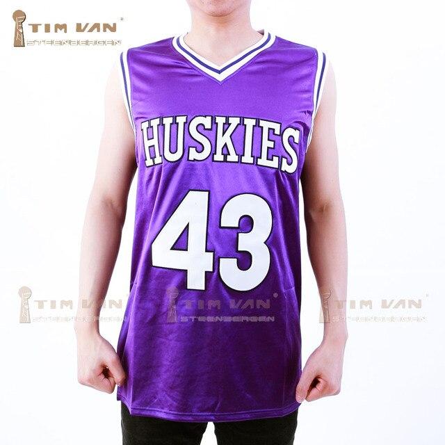 7949c236771 TIM VAN STEENBERGEB Marlon Wayans Kenny Tyler 43 Huskies Basketball Jersey  The 6th Man Double Stitched All Sewn-Purple